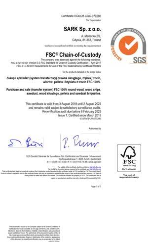 FSC COC Certificate